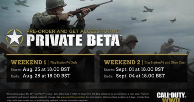 Call Of Duty WWII - Private Beta Schedule